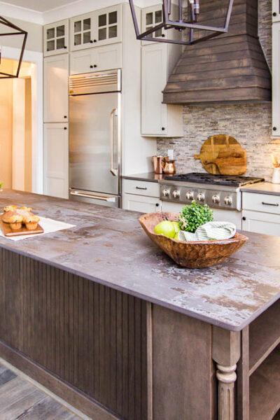 Amazing kitchen with dark wood island