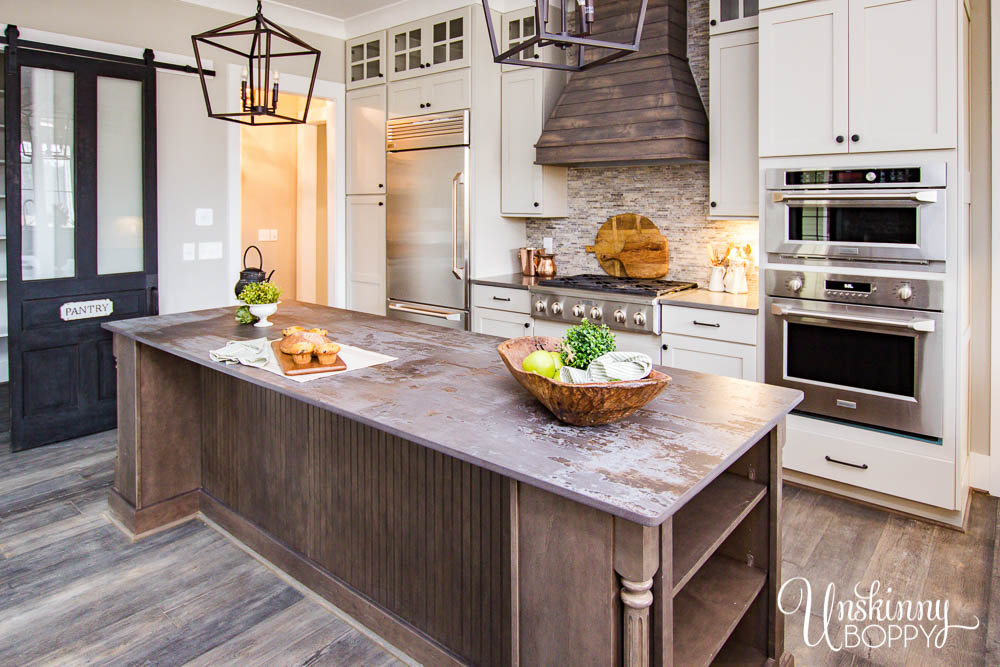 Amazing kitchen with dark wood island