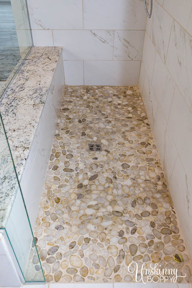 River rock pebble tile in shower floor