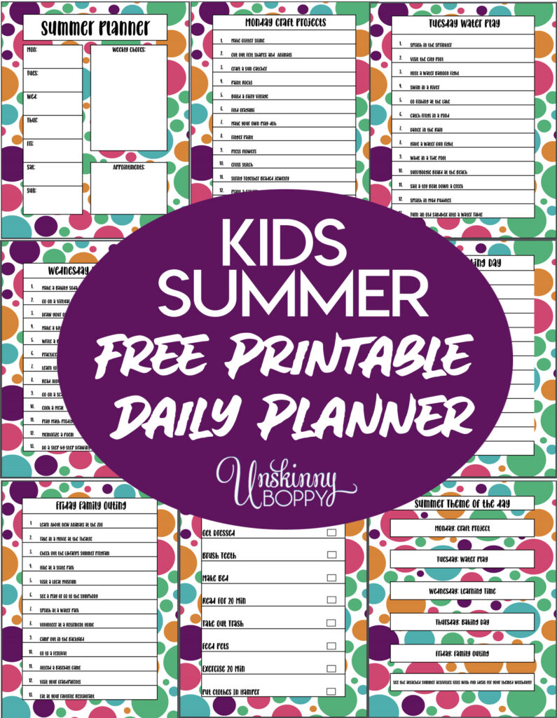 Kids summer daily planner printable