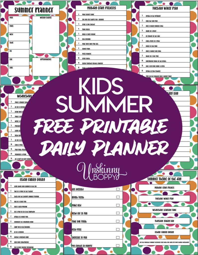 Kids summer daily planner printable