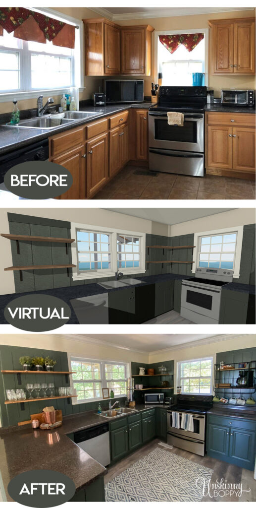 Painted Green Kitchen Cabinets before & after
