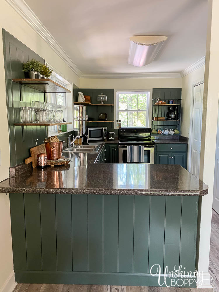 Painted Green Kitchen Cabinets open shelving-15