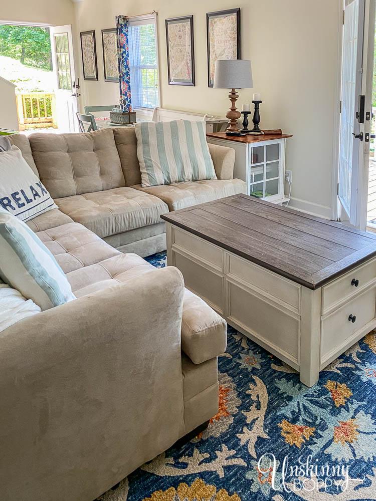 Living room with blue orange rug