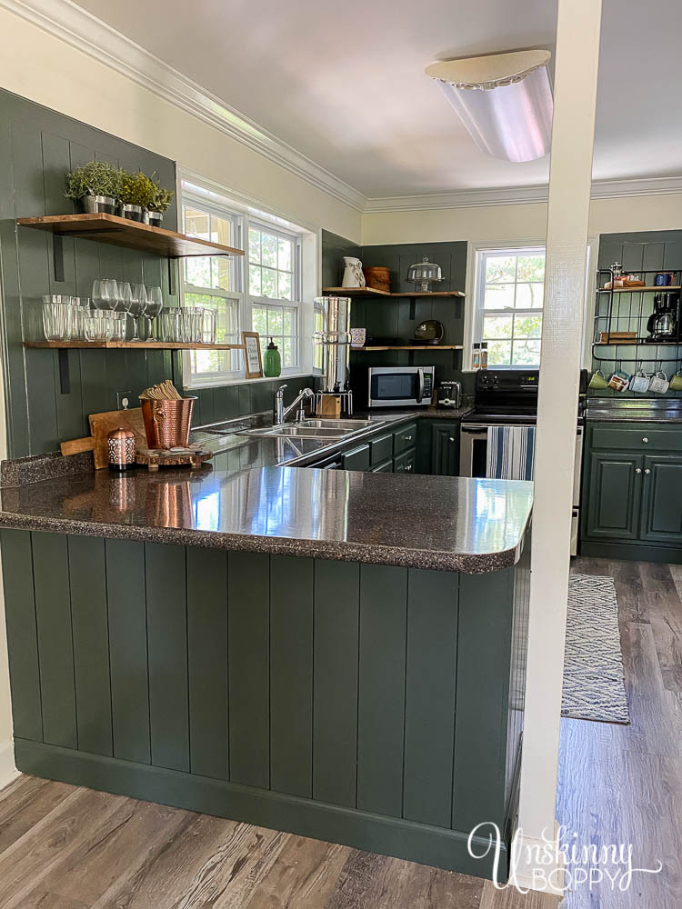 Painted Green Kitchen Cabinets open shelving-22