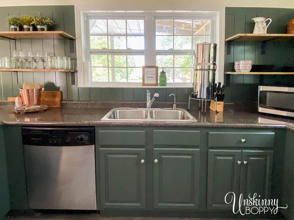 oak cabinets painted dark green