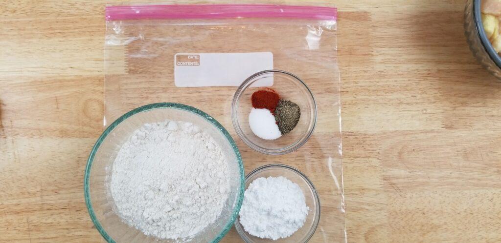 Put dry ingredients in ziploc