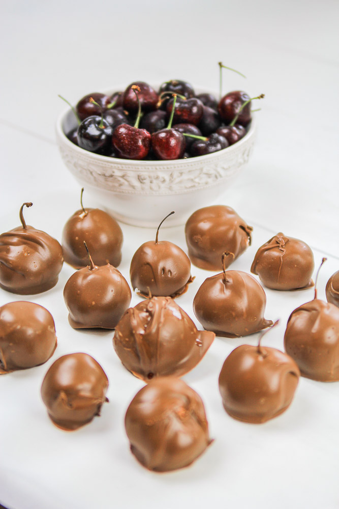 finished chocolate covered cherries