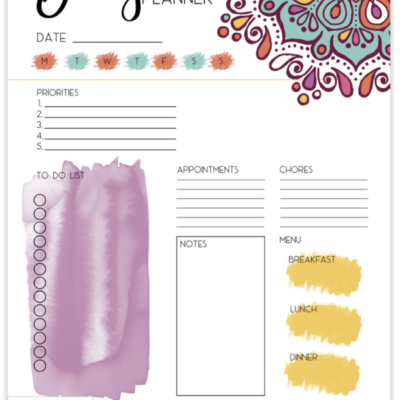 Free Printable watercolor mandala planner