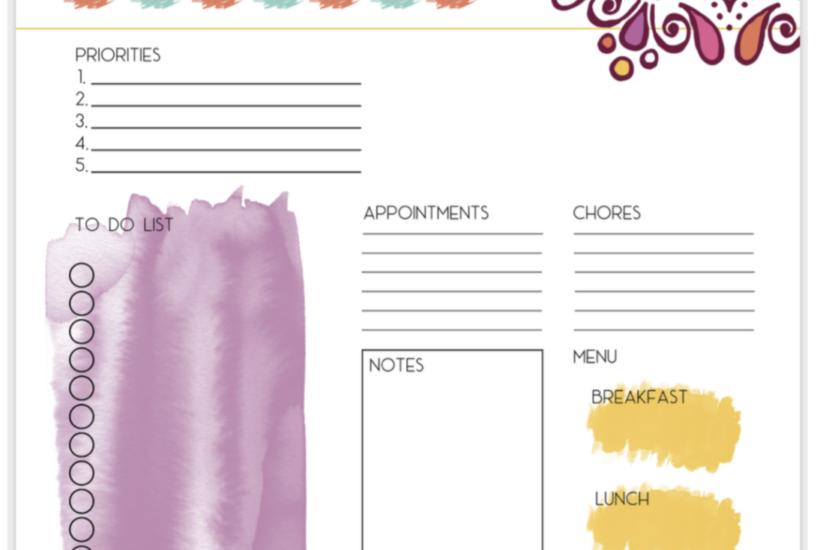 Free Printable watercolor mandala planner