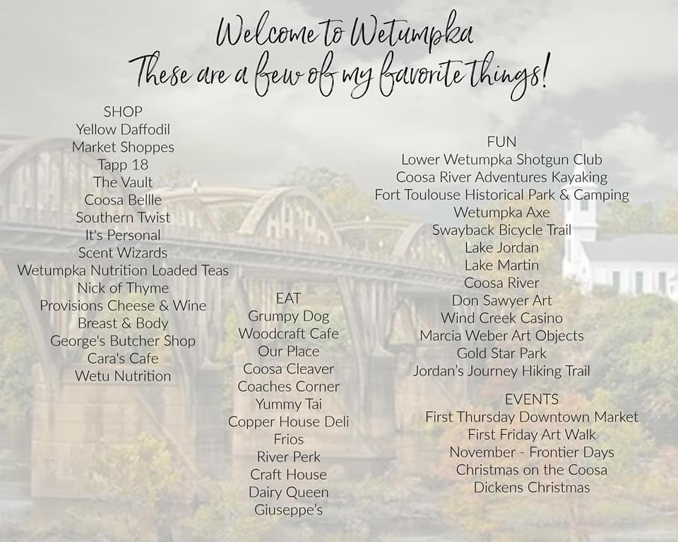 Things to Do in Wetumpka by Laurie-Wes Weldon